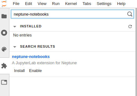 go to extension manager and search for neptune-notebooks