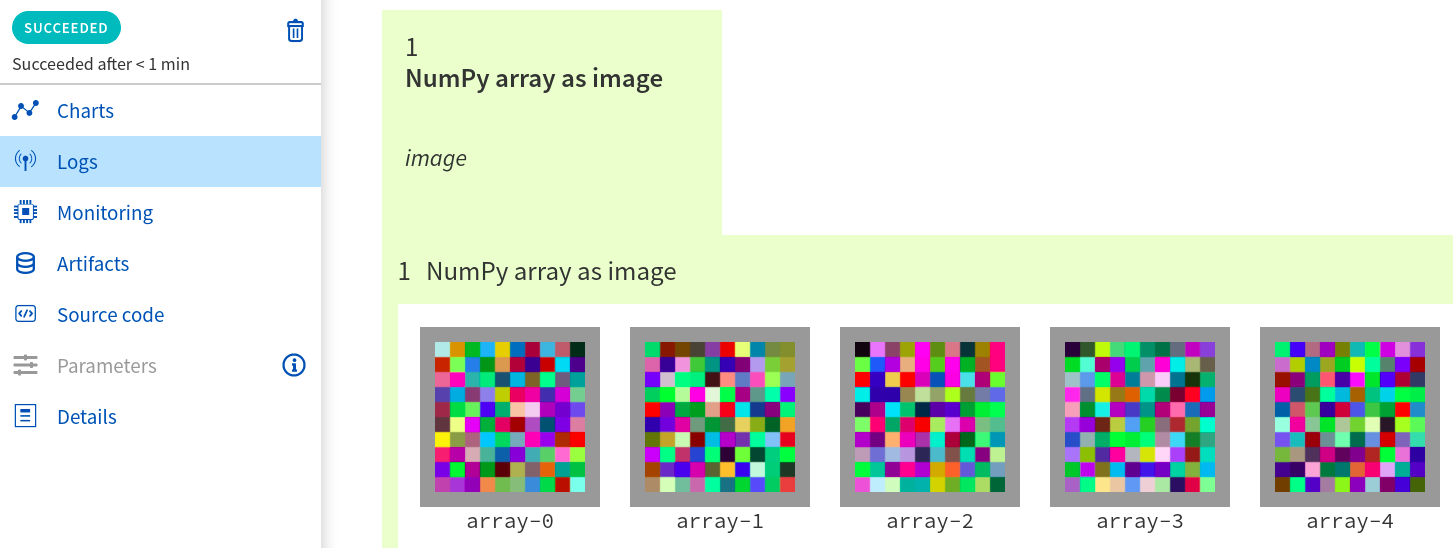 NumPy as image in experiment